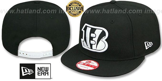 Bengals 'TEAM-BASIC SNAPBACK' Black-White Hat by New Era : pictured without stickers that these products are shipped with