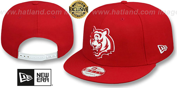 Bengals 'TEAM-BASIC SNAPBACK' Red-White Hat by New Era : pictured without stickers that these products are shipped with