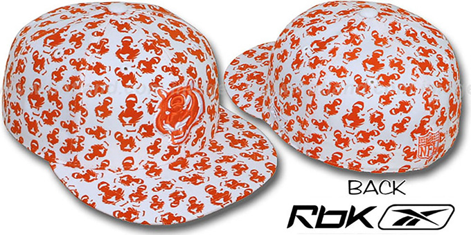 Bengals 'TEAM-FLOCKING ALL-OVER' White Fitted Hat by Reebok : pictured without stickers that these products are shipped with