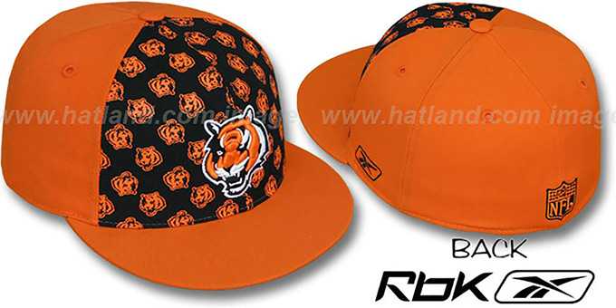 Bengals 'TEAM-PRINT PINWHEEL' Black-Orange Fitted Hat by Reebok : pictured without stickers that these products are shipped with