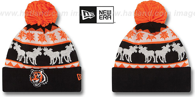 Bengals 'THE-MOOSER' Knit Beanie Hat by New Era : pictured without stickers that these products are shipped with