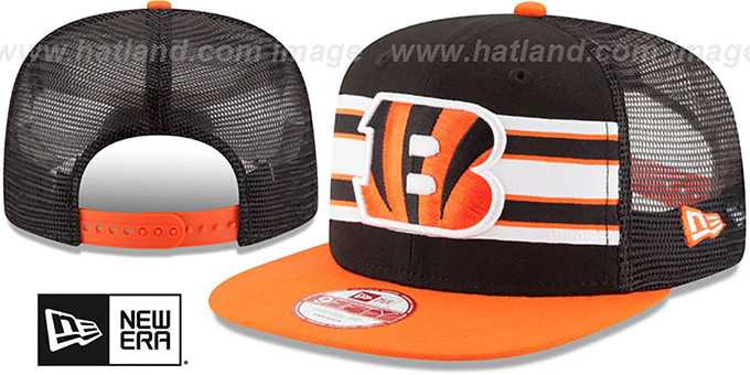 Bengals 'THROWBACK-STRIPE SNAPBACK' Black-Orange Hat by New Era : pictured without stickers that these products are shipped with