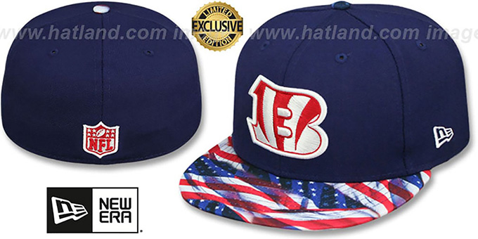 Bengals 'USA WAVING-FLAG' Navy Fitted Hat by New Era : pictured without stickers that these products are shipped with