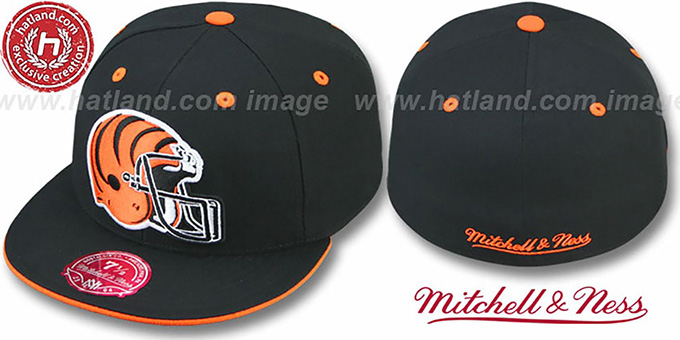 Bengals 'XL-HELMET' Black Fitted Hat by Mitchell & Ness : pictured without stickers that these products are shipped with
