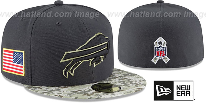 Bills '2016 SALUTE-TO-SERVICE' Grey-Desert Fitted Hat by New Era : pictured without stickers that these products are shipped with