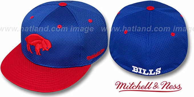 Bills '2T BP-MESH' Royal-Red Fitted Hat by Mitchell & Ness : pictured without stickers that these products are shipped with