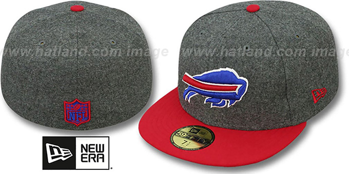 Bills '2T NFL MELTON-BASIC' Grey-Red Fitted Hat by New Era : pictured without stickers that these products are shipped with