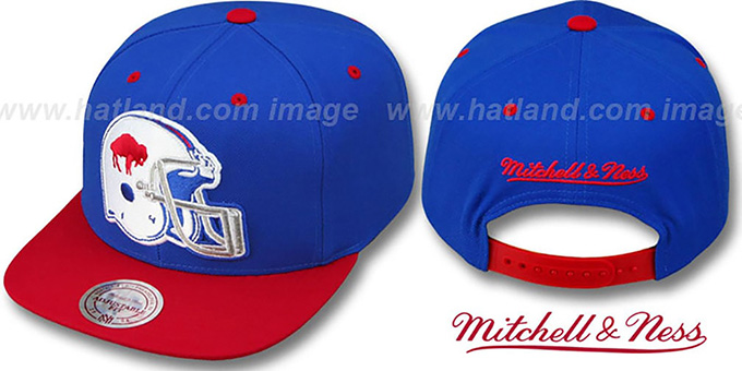 Bills '2T XL-HELMET SNAPBACK' Royal-Red Adjustable Hat by Mitchell & Ness : pictured without stickers that these products are shipped with