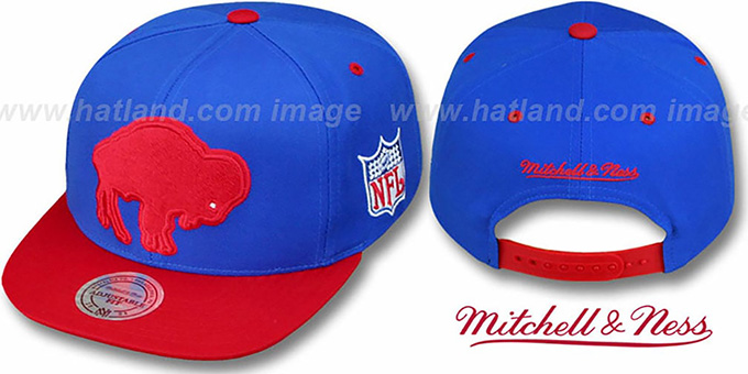 Bills '2T XL-LOGO SNAPBACK' Royal-Red Adjustable Hat by Mitchell & Ness : pictured without stickers that these products are shipped with