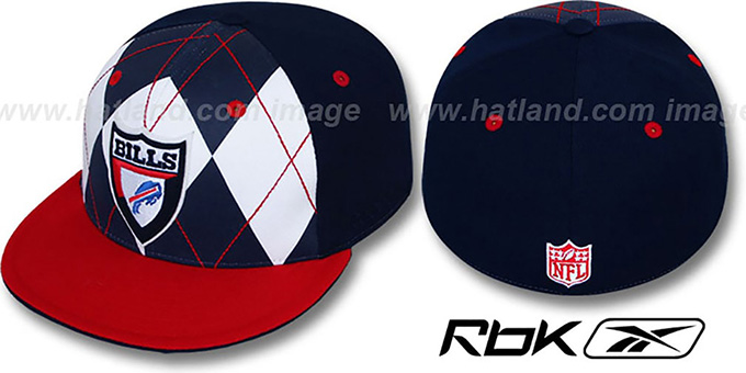 Bills 'ARGYLE-SHIELD' Navy-Red Fitted Hat by Reebok : pictured without stickers that these products are shipped with