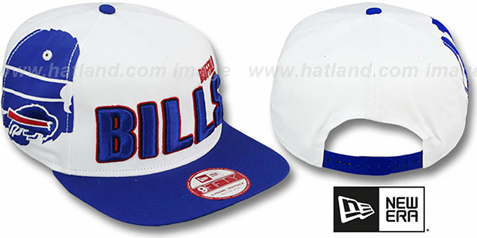 Bills 'BIGSIDE A-FRAME SNAPBACK' White-Royal Hat by New Era : pictured without stickers that these products are shipped with