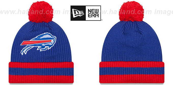Bills 'CHILLER FILLER BEANIE' Royal-Red by New Era : pictured without stickers that these products are shipped with