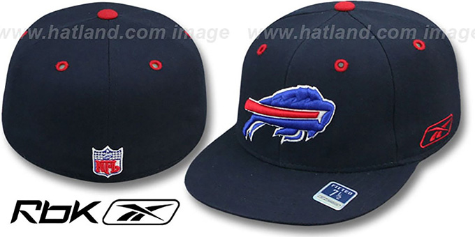 Bills 'COACHES-2' Navy Fitted Hat by Reebok : pictured without stickers that these products are shipped with