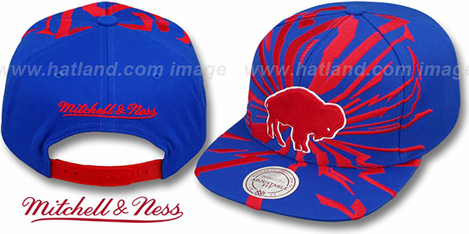 Bills 'EARTHQUAKE SNAPBACK' Royal Hat by Mitchell & Ness : pictured without stickers that these products are shipped with