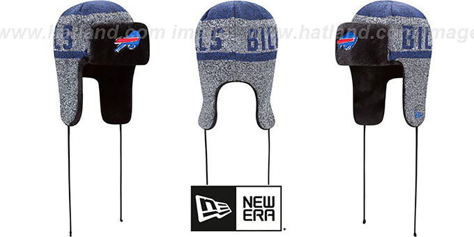 Bills 'FROSTWORK TRAPPER' Royal Knit Hat by New Era : pictured without stickers that these products are shipped with