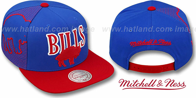 Bills 'LASER-STITCH SNAPBACK' Royal-Red Hat by Mitchell & Ness : pictured without stickers that these products are shipped with