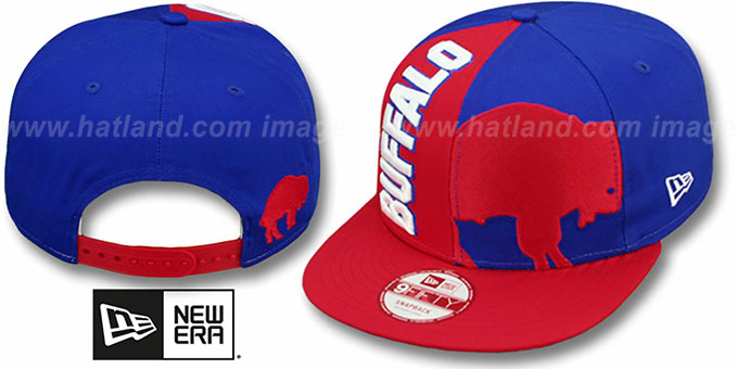 Bills 'NE-NC THROWBACK DOUBLE COVERAGE SNAPBACK' Hat by New Era : pictured without stickers that these products are shipped with