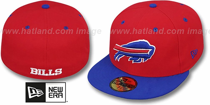 Bills 'NFL 2T-TEAM-BASIC' Red-Royal Fitted Hat by New Era : pictured without stickers that these products are shipped with