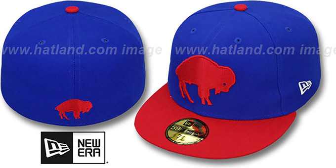Bills 'NFL 2T THROWBACK TEAM-BASIC' Royal-Red Fitted Hat by New Era : pictured without stickers that these products are shipped with