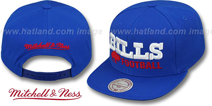 Bills 'NFL-BLOCKER SNAPBACK' Royal Hat by Mitchell & Ness : pictured without stickers that these products are shipped with