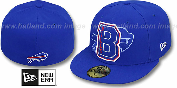 Bills 'NFL FELTN' Royal Fitted Hat by New Era : pictured without stickers that these products are shipped with