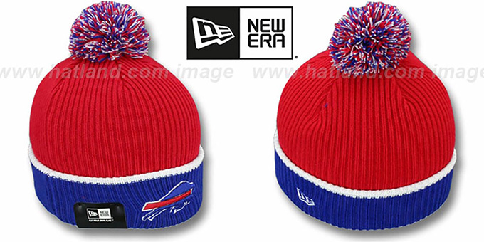 Bills 'NFL FIRESIDE' Red-Royal Knit Beanie Hat by New Era : pictured without stickers that these products are shipped with