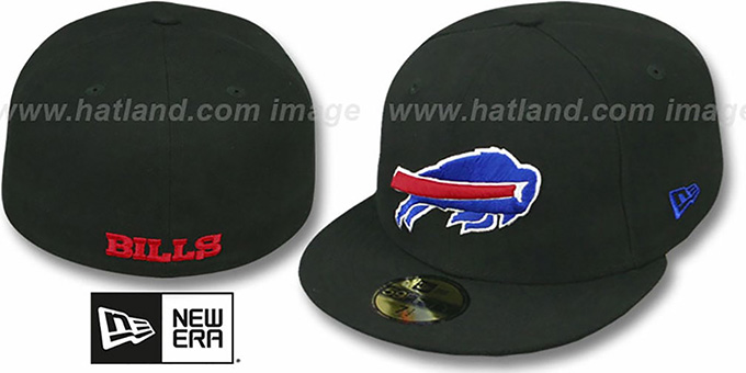 Bills 'NFL TEAM-BASIC' Black Fitted Hat by New Era : pictured without stickers that these products are shipped with