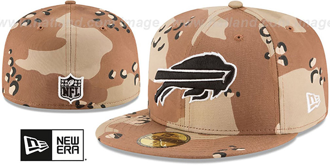 Bills 'NFL TEAM-BASIC' Desert Storm Camo Fitted Hat by New Era : pictured without stickers that these products are shipped with