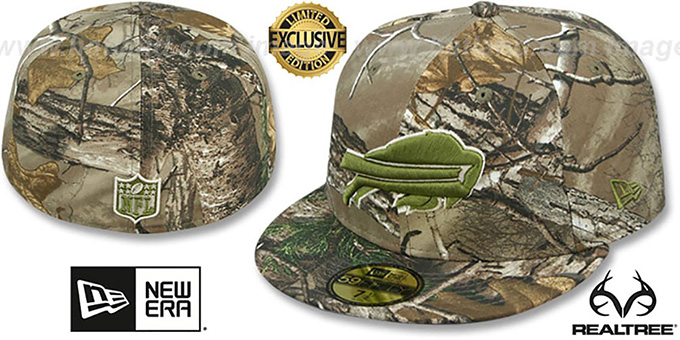 Bills 'NFL TEAM-BASIC' Realtree Camo Fitted Hat by New Era : pictured without stickers that these products are shipped with