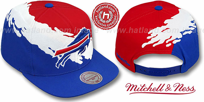 Bills 'PAINTBRUSH SNAPBACK' Red-White-Royal Hat by Mitchell & Ness : pictured without stickers that these products are shipped with