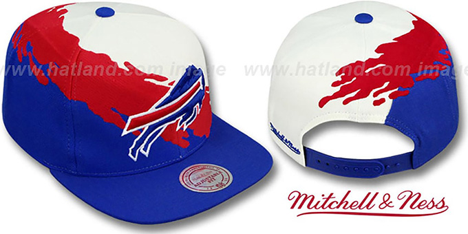 Bills 'PAINTBRUSH SNAPBACK' White-Red-Royal Hat by Mitchell & Ness : pictured without stickers that these products are shipped with