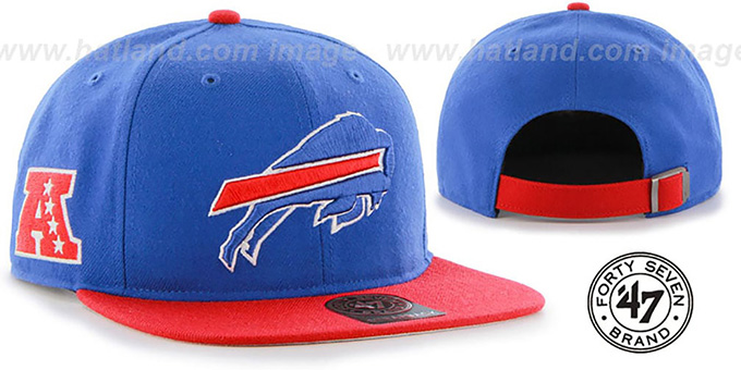 Bills 'SUPER-SHOT STRAPBACK' Royal-Red Hat by Twins 47 Brand : pictured without stickers that these products are shipped with