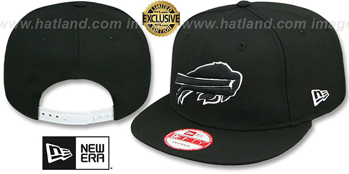 Bills 'TEAM-BASIC SNAPBACK' Black-White Hat by New Era : pictured without stickers that these products are shipped with