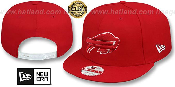 Bills 'TEAM-BASIC SNAPBACK' Red-White Hat by New Era : pictured without stickers that these products are shipped with