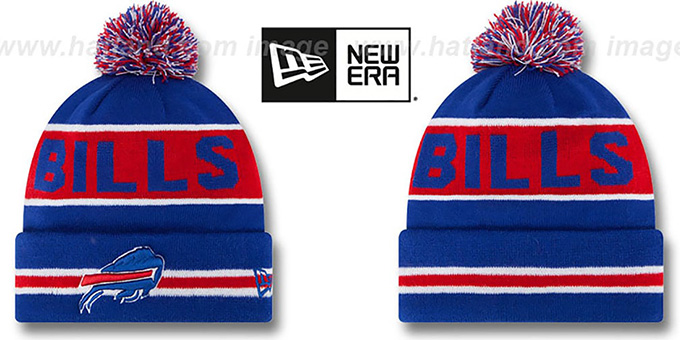 Bills 'THE-COACH' Royal Knit Beanie Hat by New Era : pictured without stickers that these products are shipped with