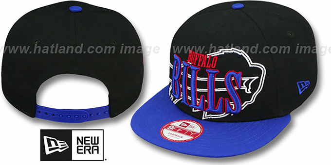 Bills 'THROUGH SNAPBACK' Black-Royal Hat by New Era : pictured without stickers that these products are shipped with