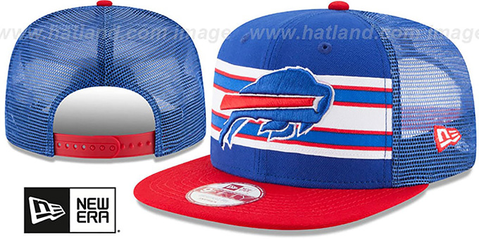 Bills 'THROWBACK-STRIPE SNAPBACK' Royal-Red Hat by New Era : pictured without stickers that these products are shipped with