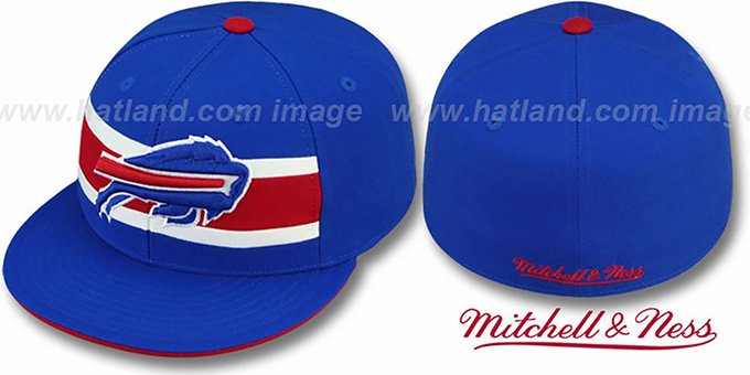 Bills 'THROWBACK TIMEOUT' Royal Fitted Hat by Mitchell & Ness : pictured without stickers that these products are shipped with