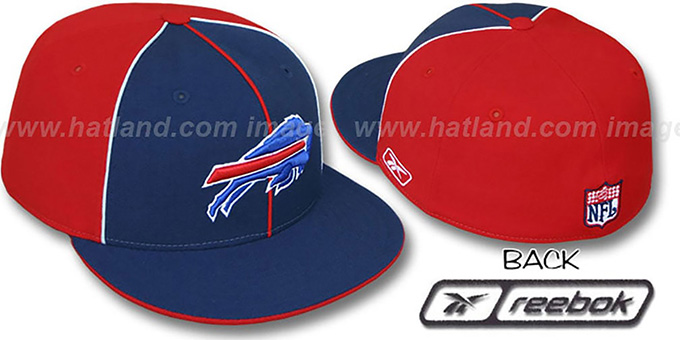 Bills 'TRI PIPING PINWHEEL' Navy Red Fitted Hat by Reebok : pictured without stickers that these products are shipped with