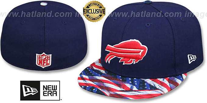 Bills 'USA WAVING-FLAG' Navy Fitted Hat by New Era : pictured without stickers that these products are shipped with