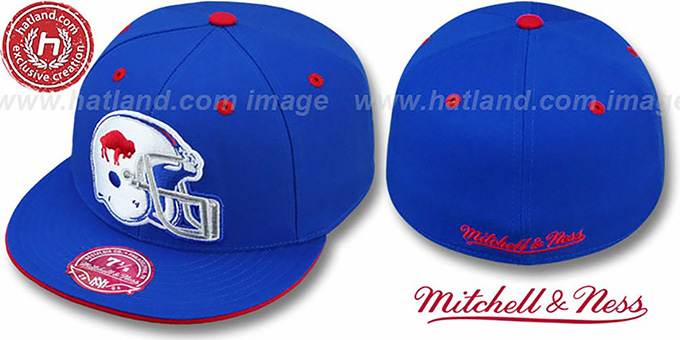 Bills 'XL-HELMET' Royal Fitted Hat by Mitchell & Ness : pictured without stickers that these products are shipped with