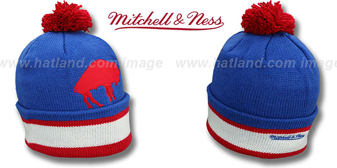 Bills 'XL-LOGO BEANIE' Royal by Mitchell and Ness : pictured without stickers that these products are shipped with