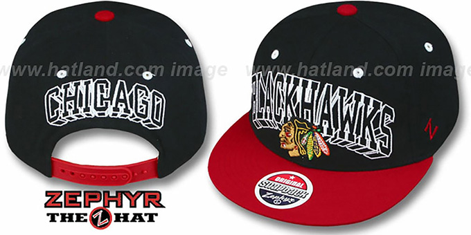 Blackhawks '2T BLOCKBUSTER SNAPBACK' Black-Red Hat by Zephyr : pictured without stickers that these products are shipped with