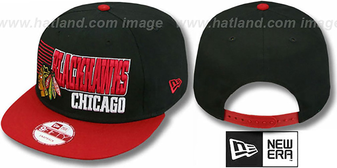 Blackhawks '2T BORDERLINE SNAPBACK' Black-Red Hat by New Era : pictured without stickers that these products are shipped with