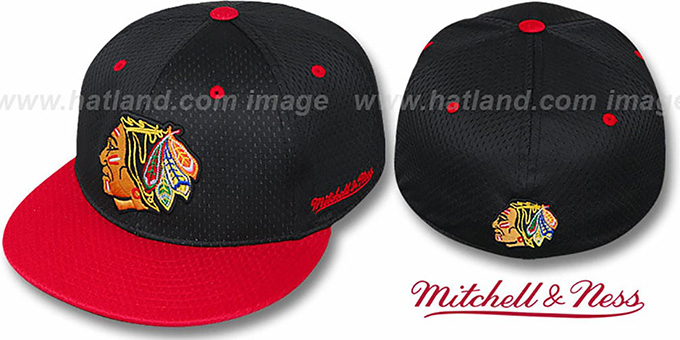 Blackhawks '2T BP-MESH' Black-Red Fitted Hat by Mitchell & Ness : pictured without stickers that these products are shipped with
