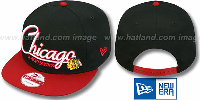 Blackhawks '2T CHARZ SNAPBACK' Black-Red Hat by New Era : pictured without stickers that these products are shipped with