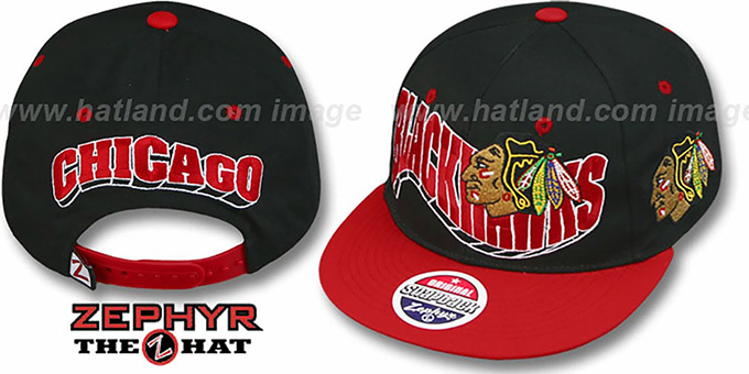 Blackhawks '2T FLASHBACK SNAPBACK' Black-Red Hat by Zephyr : pictured without stickers that these products are shipped with