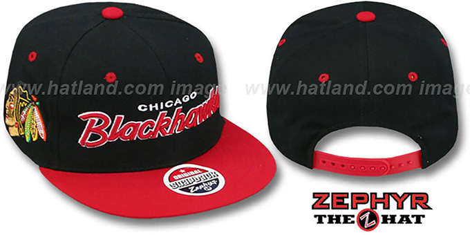 Blackhawks '2T HEADLINER SNAPBACK' Black-Red Hat by Zephyr : pictured without stickers that these products are shipped with