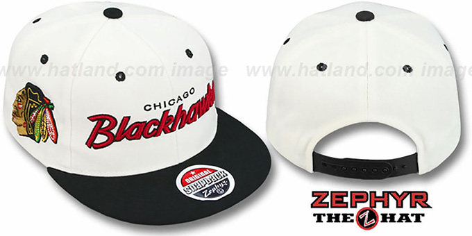 Blackhawks '2T HEADLINER SNAPBACK' White-Black Hat by Zephyr : pictured without stickers that these products are shipped with