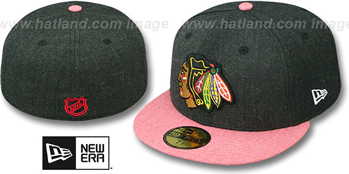 Blackhawks '2T-HEATHER ACTION' Charcoal-Red Fitted Hat by New Era : pictured without stickers that these products are shipped with